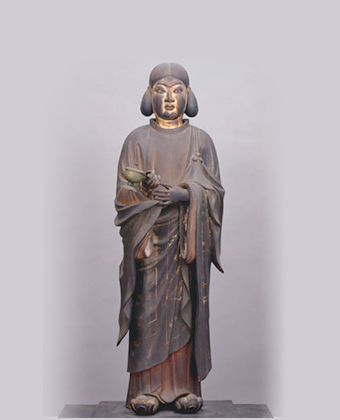 The statue was constructed with pieces of wood, with the eyes made of crystal  The wooden standing statue of Shotoku Taishi