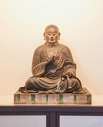 The wooden seated statue of Kobo Daishi
