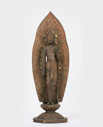 The wooden standing statue of Holy Kannon Bodhisattva (Goddess of Mercy)