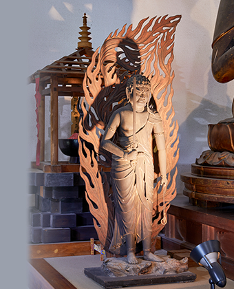 The wooden standing statue of Fudo Myo-o