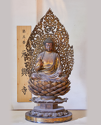 The wooden seated statue of Bhaisajyaguru (Buddha able to cure all ills)