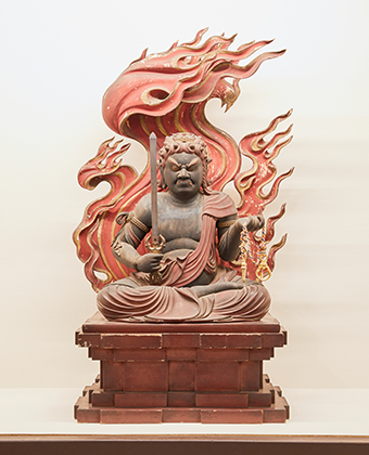 The wooden seated statue of Fudo Myo-o